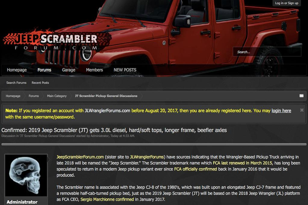 Jeep's new Wrangler-based pick-up to be called Scrambler
