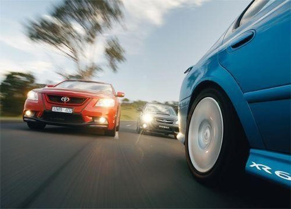 Ford Falcon XR6 Turbo vs Subaru Liberty GT Spec B vs TRD Aurion