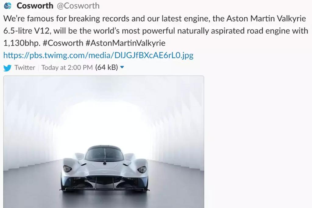 Aston Martin Valkyrie Hypercar Power Figures Leaked Www Carsales
